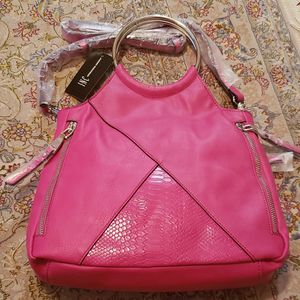 INC Fuchsia Pink Top Ring Handle Silver Tone Crossbody Bag MSRP $79.50 for Sale in Houston, TX