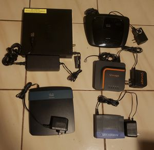 Box of networking equipment (router, hub, modem, Vonage) for Sale in Miami, FL