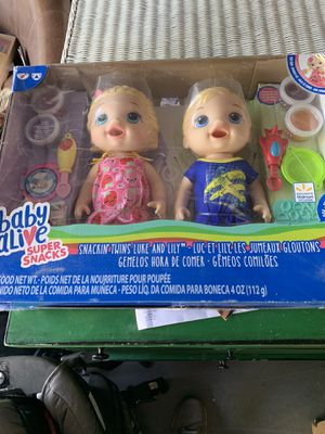 Baby Alive Super Snacks Snackin Twins Lily Girl Doll and Luke Boy Doll Blonde NEW With Accessories for Sale in Phoenix, AZ