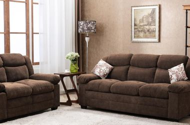New! Choloate Brown Fabric Sofa and Loveseat *FREE SAME-DAY DELIVERY* for Sale in Columbia,  MD