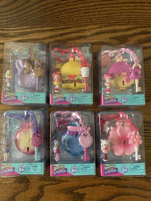 Complete Shopkins Lil Secrets Keychains Series 3 Mini Doll Locket Bag Tag lot of 6 for Sale in Bakersfield, CA