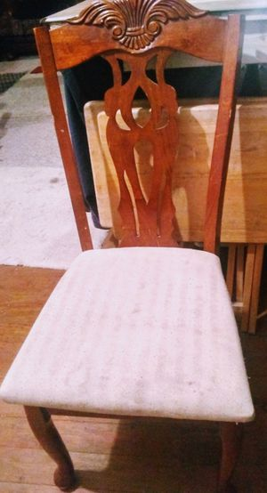 Cherry full table and four chairs with cushions for Sale in Saint Joseph, MO