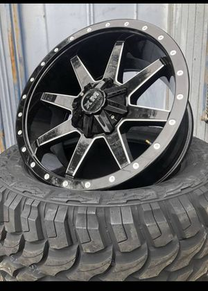 "New 20"" Black XM Rims 20 Xtreme Mudder Wheels 20s Rines available in 6 lug , 8 lug , and 5 lug bolt pattern ## Fuel Fuels Motometal Moto Metal Metals for Sale in Dallas, TX"
