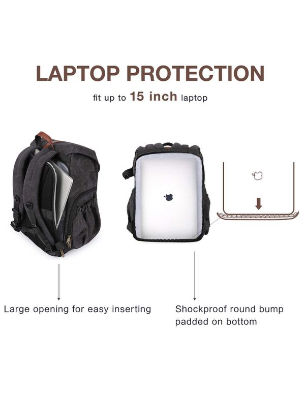 """BAGSMART Camera Backpack, Anti-Theft DSLR SLR Camera Bag Water Resistant Canvas Backpack Fit up to 15"""" Laptop with Rain Cover, Tripod Holder for Wom"""