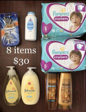 2 Pampers Diaper (Size 5 or 6 available), 2 L'Oréal Shampoo & Conditioner, 1 Bic Razors: 8 items $30 for Sale in Monterey Park, CA
