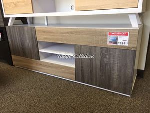 TV Stand for TVs up to 70 Inch, White & Dark Taupe & Distressed Gray, SKU# ID171984TC for Sale in Santa Fe Springs, CA