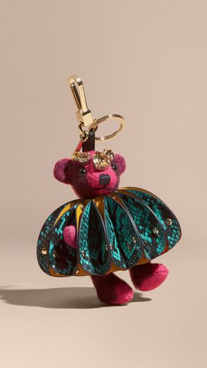 Burberry Cashmere Thomas Bear Bag Charm Ruffled Leather Python Crystals keychain $525 for Sale in New York, NY