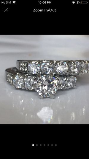 Silver sapphire women's ring wedding engagement ring band luxury ring for Sale in Silver Spring, MD