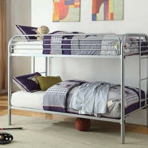 Black FINISH METAL FRAME TWIN OVER TWIN SIZE BUNK BED + MATTRESS LITERA COLCHONES for Sale in San Diego, CA
