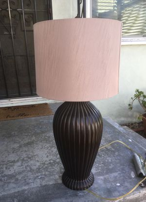 Beautiful solid metal lamp with light tan/pink shade for Sale in San Diego, CA
