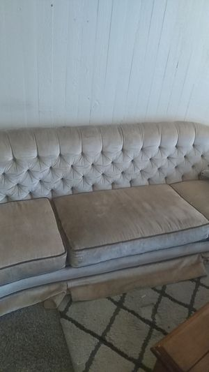 Antique velvet couch in a champagne color for Sale in Salt Lake City, UT