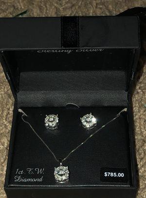 1 Carat Diamond Halo Pendant & Stud Earring Set for Sale in Austin, TX