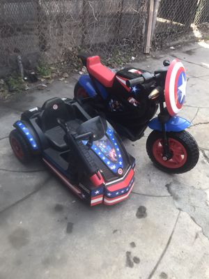 Captain America Motorcycle with Sidecar Ride-On Toy by Kid Trax for Sale in East Compton, CA
