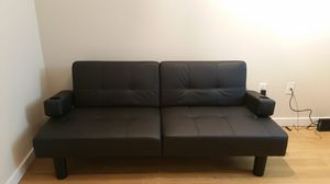 Black Faux leather futon (sofa convertible to bed) for Sale in Seattle, WA