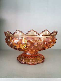 Vintage Amber Fenton Hobnail Candle Dish Glass Bowl Colonial Centerpiece Holiday Decor for Sale in Falls Church,  VA