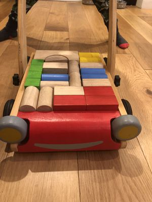 PLAN TOYS wagon and wooden blocks for Sale in Austin, TX