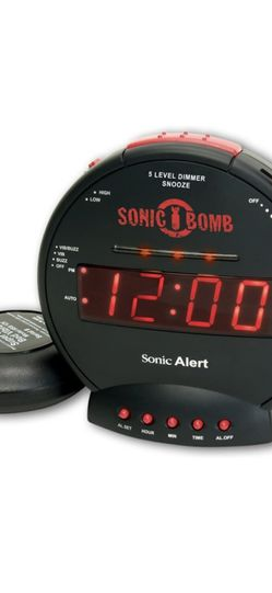 Sonic Bomb Dual Extra Loud Alarm Clock with Bed Shaker, Black | Sonic Alert Vibrating Alarm Clock Heavy Sleepers, Battery Backup | Wake with a Shake for Sale in Lakewood,  CA