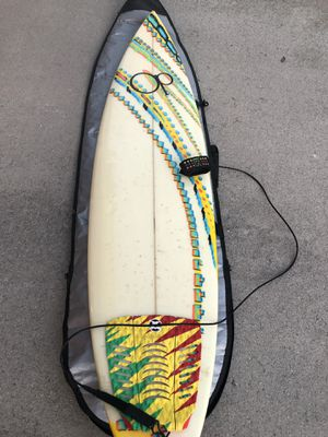 Ocean pacific surfboard+case+car wraps+FCS Fins (3) for Sale in High Point, NC