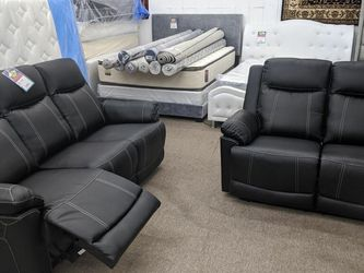 In Stock New Box Black Leather Recliner Sofa And Loveseat for Sale in Beltsville,  MD