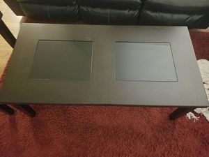 Ashley Furniture Glass and Wood Espresso Coffee table with 2x matching end tables for Sale in Orange, CA