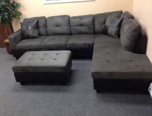Brand New Gray Microfiber Sectional Couch With Storage Ottoman And Pillows. Can Deliver Today! for Sale in Portland, OR