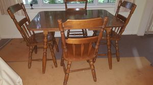 Vintage wood kitchen table and solid walnut chairs for Sale in Gaithersburg, MD