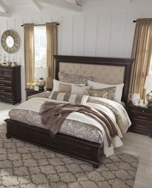 Brand New Dark Brown Upholstered Panel 4/Piece Bedroom Set》Queen, King》Bed Frame, Dresser, Mirror and Night stand included🚚SAME DAY DELIVERY for Sale in Houston, TX