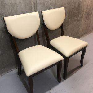 Leather Wooden Dining chairs (x2) for Sale in Seattle, WA