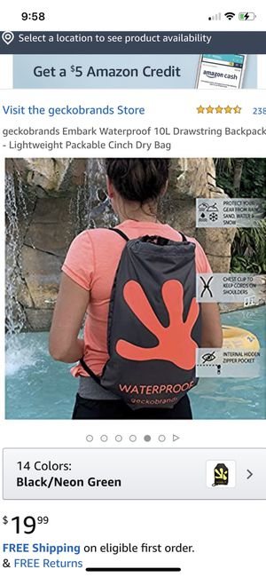 geckobrands Embark Waterproof 10L Drawstring Backpack - Lightweight Packable Cinch Dry Bag for Sale in Oceanside, CA