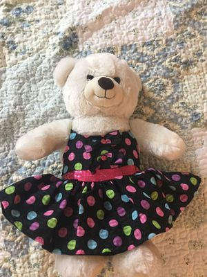 Like new white stuffed bear in dress from Build-A-Bear for Sale in Pickerington, OH