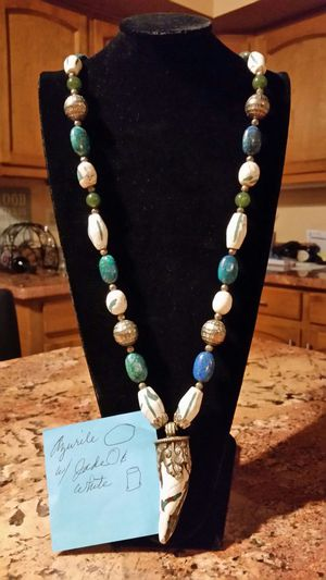 Custom made 22 inch bead necklace azurite with white jade for Sale in Scottsdale, AZ