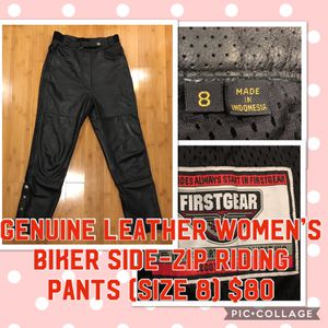 First Gear 100% Genuine Leather women's motorcycle / bike riding side zip pants size 8 for Sale in Portland, OR