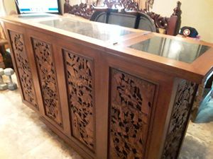 Vintage 1960s hand carved Oriental cocktail bar on Wheels amazing detail will take 2800 or best offer for Sale in Houston, TX
