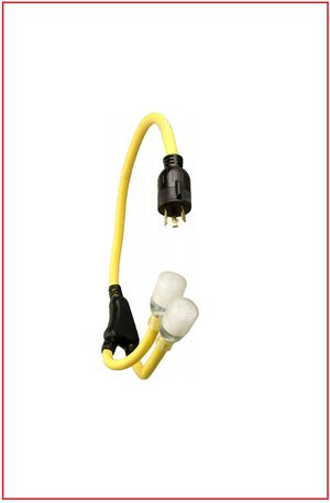 New - Coleman Cable 01914 3' 10/3 Generator Power Cord Adapter L5-30P to (2) L5-20R for Sale in Renton, WA