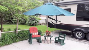 Umbrella 10 ft aluminum with weights and stand with cover for Sale in Clinton Township, MI