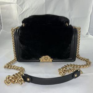 Black Fur Chanel Boy Bag (Old Medium Sizing) for Sale in Irvine, CA