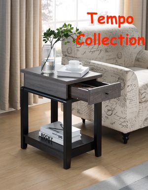 NEW IN THE BOX. END TABLE WITH DRAWER, DISTRESSED GREY, SKU# TC161829D for Sale in Santa Ana, CA