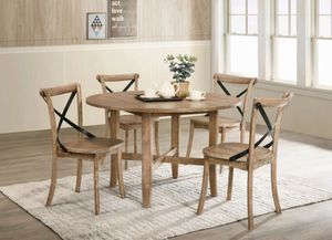 5 PCS Alexa rustic oak dining set, available in 2 colors $598.00. Super sale! In stock! Free delivery 🚚 for Sale in Ontario, CA