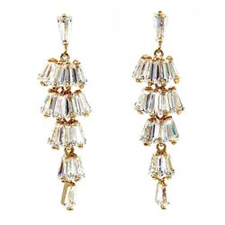 Gold long section with zircon earrings for Sale in Redwood City,  CA
