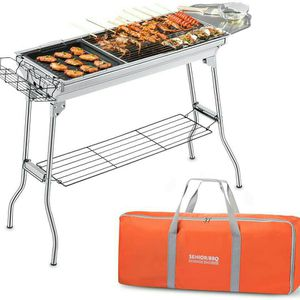 Foldable Charcoal BBQ Grill with Storage Bag & Non-stick Frying Pan for Sale in Los Angeles, CA
