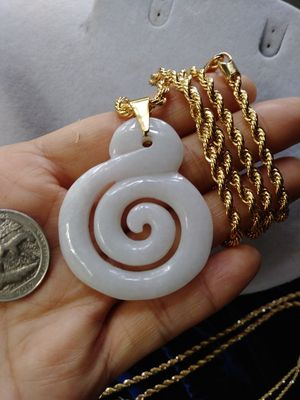 "Good luck music note genuine white jade jadeist pendant 2"" 14k Italy gold plated rope chain 24""4mm for Sale in Richmond, CA"
