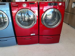 Samsung front load washer and electric dryer set with pedestal used in good condition with 90 day's warranty for Sale in Mount Rainier, MD
