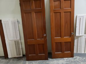 6 panel solid wood door, shutters for Sale in Chelmsford, MA