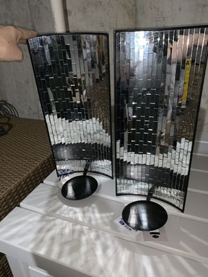Wall candle holder black and mirrored for Sale in St. Louis, MO