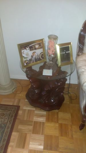 Everything Must Go 2 glass top end tables with glass top coffee table vintage for Sale in Jersey City, NJ