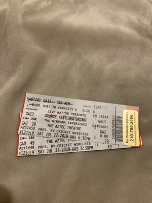 2 tickets to Grunge Fest Featuring The Nirvana Experience. Get Both X$10 for Sale in San Antonio, TX