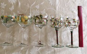 Hand painted wine glasses (5) for Sale in Silver Spring, MD