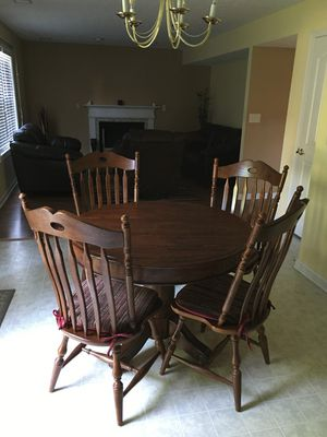 Cherry wood Dining table with Four Chairs and extension leaf for Sale in Lexington, KY