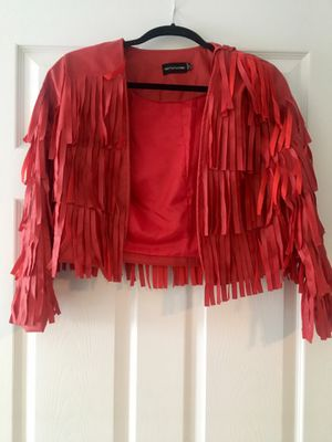 Red fringe leather jacket for Sale in Ashburn, VA