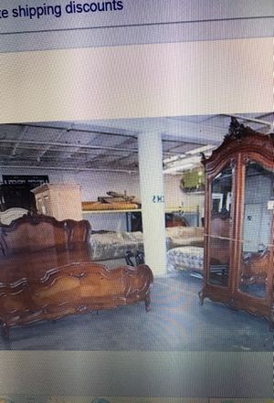 Gorgeous walnut 1870 antique Art Nouveau king size bed and matching Armoire for Sale in Los Angeles, CA